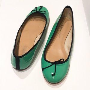 J. Crew Classic patent ballet flats - Chrome Green